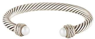 David Yurman Pearl & Diamond Cable Classic Crossover Bracelet