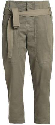 Brunello Cucinelli Belted Cotton-Blend Twill Tapered Pants