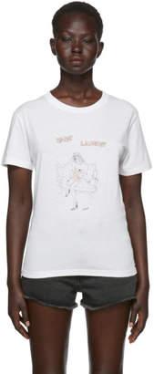 Saint Laurent White Woman Drawing T-Shirt