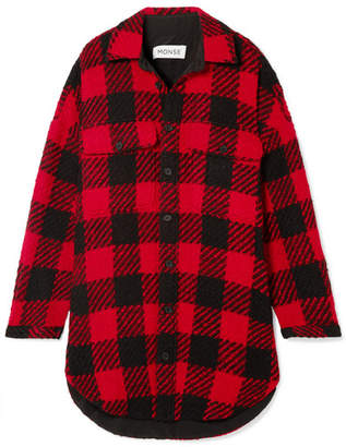 Monse Oversized Checked Wool-bouclé Coat - Red
