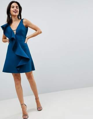 Asos DESIGN Ruffle Front Shift Dress