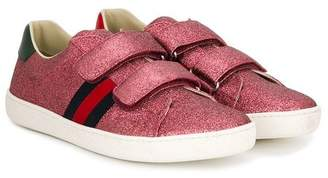 Gucci Kids glitter Web low top sneakers