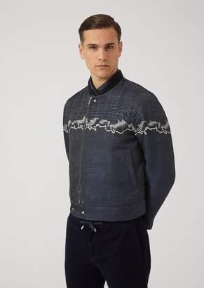 Emporio Armani Jacquard Fabric Bomber Jacket With Wave Print