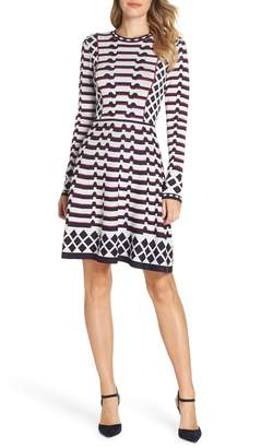 Eliza J Artwork Jacquard Sweater Dress