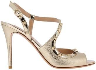 54ff1f90b37 Valentino GARAVANI Heeled Sandals Rockstud Slingback Heels Peep-toe In  Genuine Laminated Leather With Metal