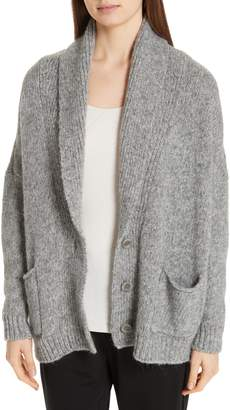 Eileen Fisher Shawl Collar Cotton & Alpaca Blend Cardigan