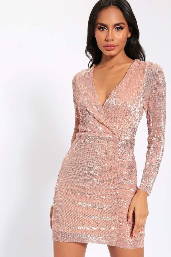 Isawitfirst Rose Gold Sequin Long Sleeve Bodycon Dress