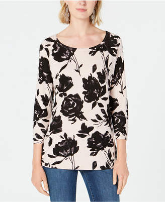 INC International Concepts I.n.c. Petite Floral-Print Top