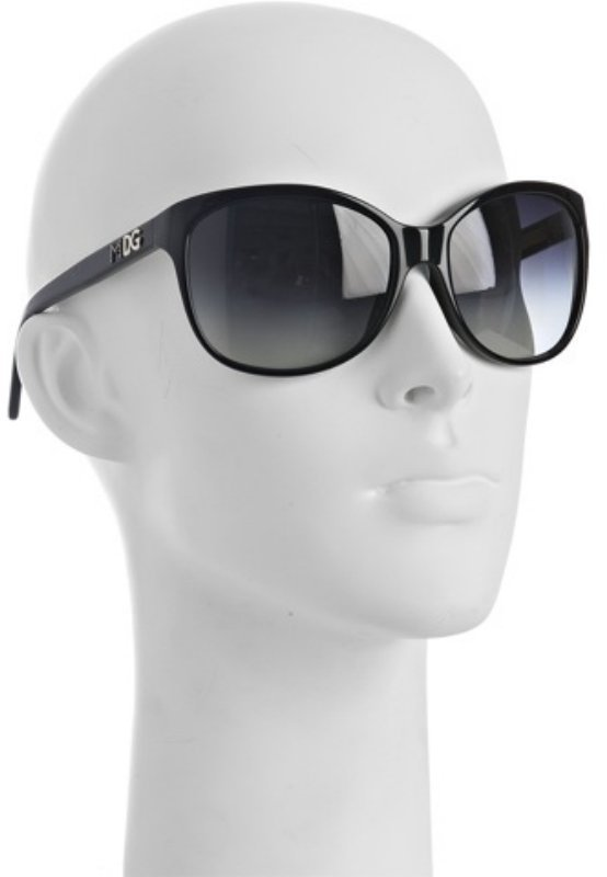 Dolce & Gabbana black plastic 'MDG' oversized sunglasses