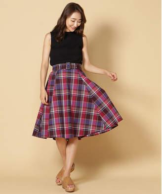 And Couture (アンド クチュール) - アンドクチュール チェックベルト付きフレアスカート