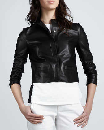 Vince Leather Snap-Front Jacket