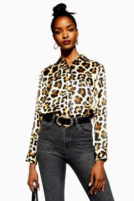 Topshop Womens Visual Leopard Print Shirt - Multi
