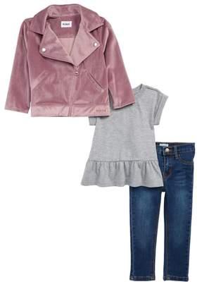 Hudson Velveteen Biker Jacket, Tee & Jeans Set