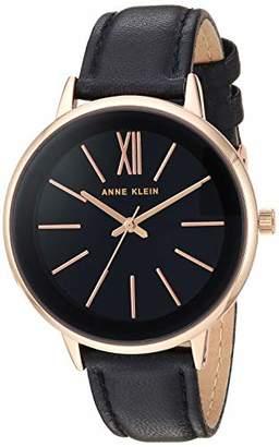 Anne Klein Women's AK/3252RGBK Rose Gold-Tone and Black Leather Strap Watch