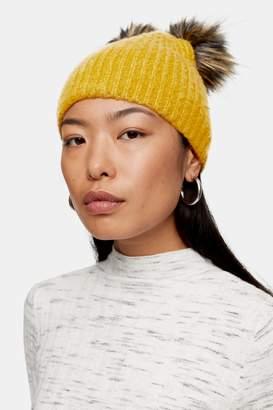 Topshop Womens Double Faux Fur Pom Pom Beanie - Mustard