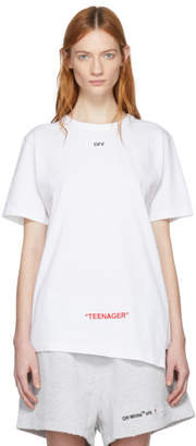 Off-White Off White White Youth Spliced T-Shirt