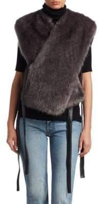 Helmut Lang Faux-Fur Belted Vest