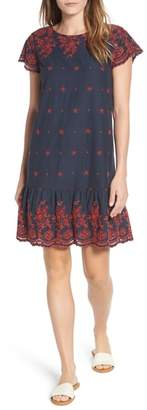 Caslon Embroidered Ruffle Hem Shift Dress