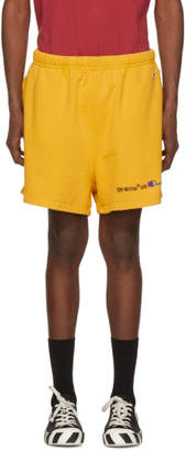Off-White Yellow Champion Reverse Weave Edition Lounge Shorts