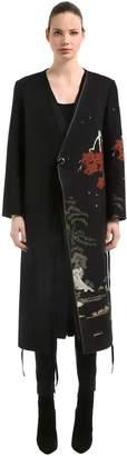 Act N°1 Oriental Printed Wool Wrap Coat