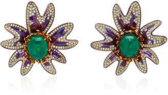 Saboo Elemanto 18K White Gold Emerald And Diamond Earrings