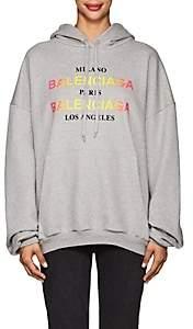 Balenciaga Women's Logo-Print Cotton Hoodie - Gray