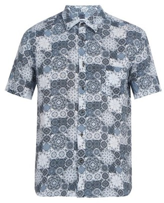 120% Lino Floral Print Short Sleeved Linen Shirt - Mens - Blue Multi