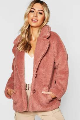boohoo Petite Button Front Teddy Coat