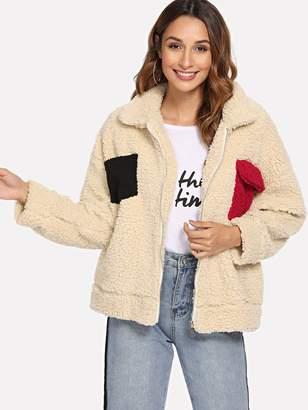 Shein Pocket Decoration Teddy Jacket