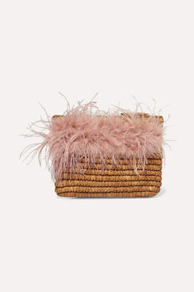 Loeffler Randall Skylar Feather-trimmed Raffia Clutch - Beige