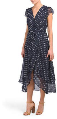 Short Sleeve Polka Dot Wrap Midi Dress