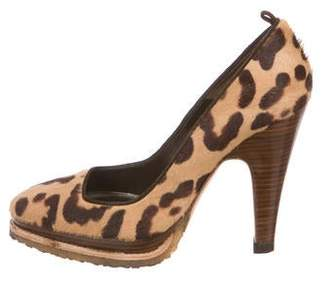 Barbara Bui Pony Hair Round-Toe Pumps