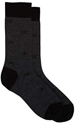 Barneys New York Men's Skull-Pattern Wool-Blend Mid-Calf Socks - Gray
