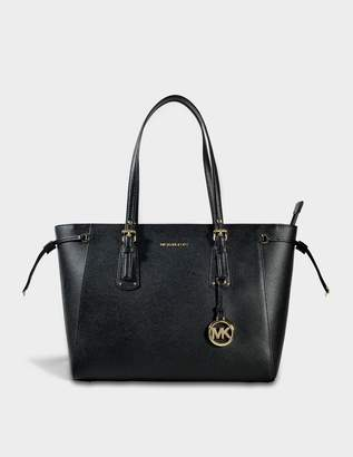 MICHAEL Michael Kors Voyager Medium Multifonction Top Zipped Tote Bag in Black Leather