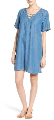 Women's Lucky Brand Lace-Up Chambray Shift Dress $99 thestylecure.com