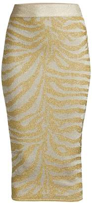 Herve Leger Zebra-Print Knit Lurex Pencil Skirt