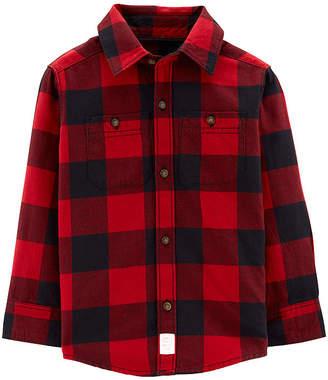 Carter's Long Sleeve Button Front Flannel Shirt-Toddler Boys