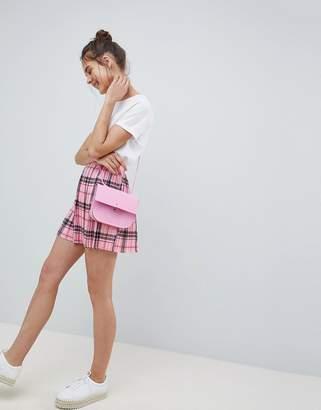 Asos Design DESIGN pleated mini skirt in pink check
