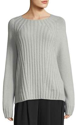 Vince Raglan Ribbed Crewneck Wool-Cashmere Pullover Sweater
