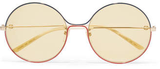 Gucci Oversized Round-frame Gold-tone Sunglasses - Yellow