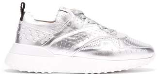 Tod's Metallic Leather Low Top Trainers - Womens - Silver