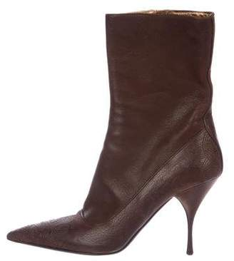 Prada Leather Pointed-Toe Boots