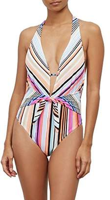 Kenneth Cole Reaction Women's Over The Rainbow Stripe Plunge One Piece Swimsuit
