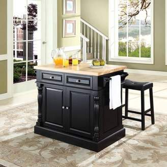 Crosley Generic Furniture Butcher Block Top Kitchen Island with Upholstered Saddle Stools, Multiple Finishes
