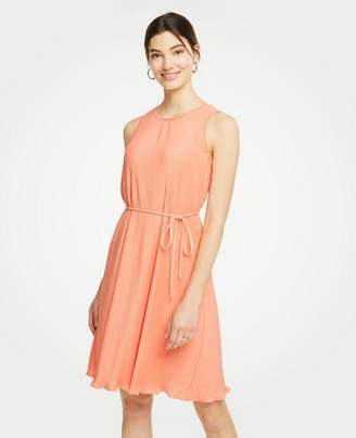 Ann Taylor Petite Micro Pleat Belted Dress
