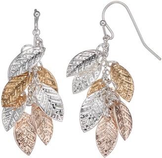 Lauren Conrad Tri Tone Leaf Cluster Nickel Free Drop Earrings