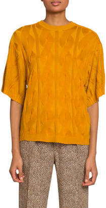 Chloé Short-Sleeve Cable-Knit Wool-Silk Sweater