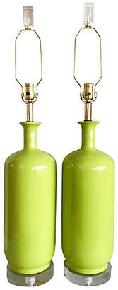 One Kings Lane Vintage Lime Green Ceramic & Lucite Lamps - Set of 2