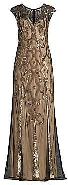Aidan Mattox Women's Beaded V-Neck Gown