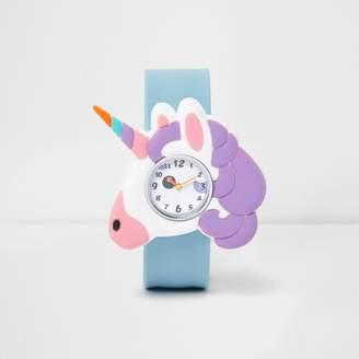 River Island Girls Blue unicorn snap on watch